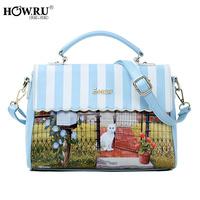 Howru 2014 print cat color block small fresh handbag cross-body women's the trend handbag