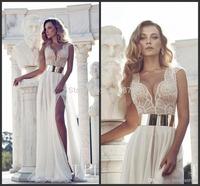 Abendkleider Vestidos De Fiesta 2014 Real Sample Gold Sashes A-Line ChiffonTank Prom Dresses Evening Dress New Arrival