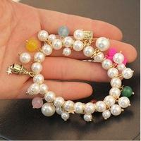2014 new exaggerated fashion Korea multilayer rhinestone bracelet female crystal precious stones and pearls bracelet