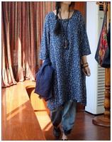 Free Shipping Fluid vintage brief low-high 100% o-neck cotton three quarter sleeve long shirt design dress clothes