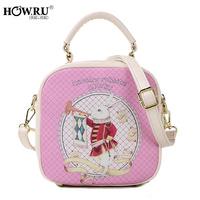 Howru 2014 double zipper print rabbit portable women's one shoulder handbag