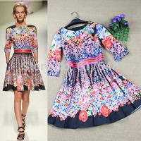 2014 Fashion  vintage elegant half sleeve  A-line floral silk dresses women sweet