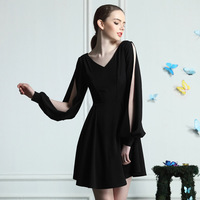 Vintage lady sexy V-neck cutout batwing sleeve elegant small a short skirt high waist spring and summer one-piece dress 9938