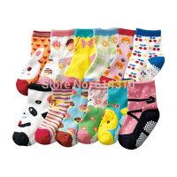 Free shipping ( 12 pairs/lot ) 100% cotton Baby socks rubber slip-resistant floor socks cartoon small kid's socks 1--3 baby