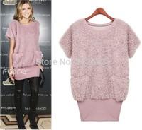 UK Brand New 2014 Women Spring Autumn Winter Plus size XL XXL XXXL 4XL 5 XL  Pink Black Woolen Knitted Sweater Dress Free ship