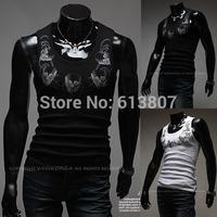 2014 new trend of men's skull t-shirt vest