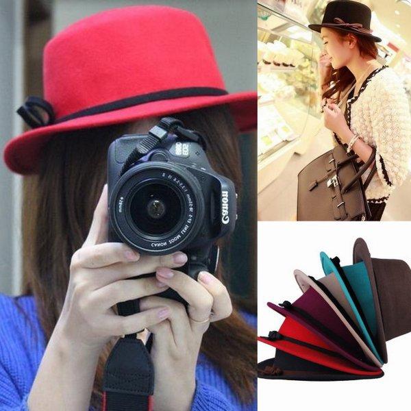 Women Casual Retro Flat Top Wool Cashmere Bowknot Band Fedora Bowler Hat Cap Free Shipping(China (Mainland))