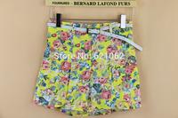 2014 summer new fresh floral women shorts pants with belt Girls Shorts summer Shorts