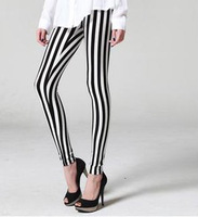 New Leggings For Women 2014 Fashion Fitness Black White Spandex Legging For Girls Plus Size Zebra Print Vertical Stripe Pants
