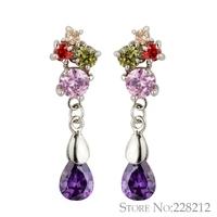 2014 new water drop crystal flower earrings fashion luxury multicolor cubic zirconia earrings for women hot sale high quality