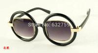 Free shipping fashion circular frame side lens modelling Sunglasses eyewear trendsetter Sunglasses