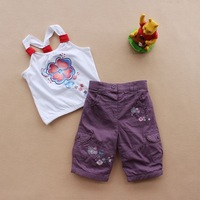 Fashion tu2014 spring and autumn baby embroidered pants 100% cotton children's double layer trousers girls' casual pants