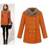 Woolen Double Breasted Solid Standard Coat Full Sleeve O-neck Collar with Pocket Slim Black Orange Fashion Warm Coat nz105