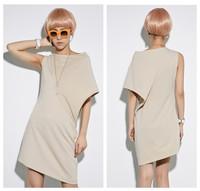 Hot! new 2014 summer women fashion brand personality novelty asymmetric sleeve irregular dress punk high quality free shipping