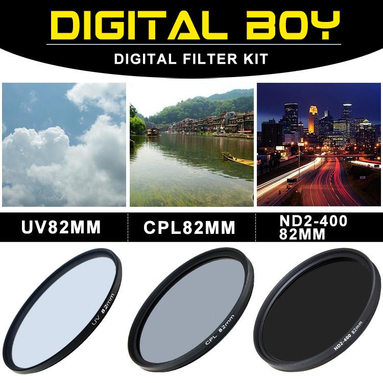 (3pcs/1lot) 82mm UV Filter+82mm Circular Polarizing CPL+ 82mm ND2 to ND400 Filter Kit for Canon 16-35 Nikon lente filtro()