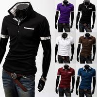 FREE SHIPPING Men's Slim Short sleeve Casual POLO Shirt T-shirts Fashion 6-colors