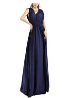DR1785 2014 European Women Blue Silk Cotton Front Back V Neck Cocktail Dress