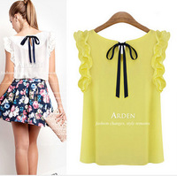CHEAPEST!!!2014 women's o-neck lotus leaf pullover lacing bow chiffon shirt top women's blouse free shipping