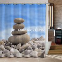 JF1072 Bathroom curtain terylene cloth print shower curtain blue stone 180*180cm