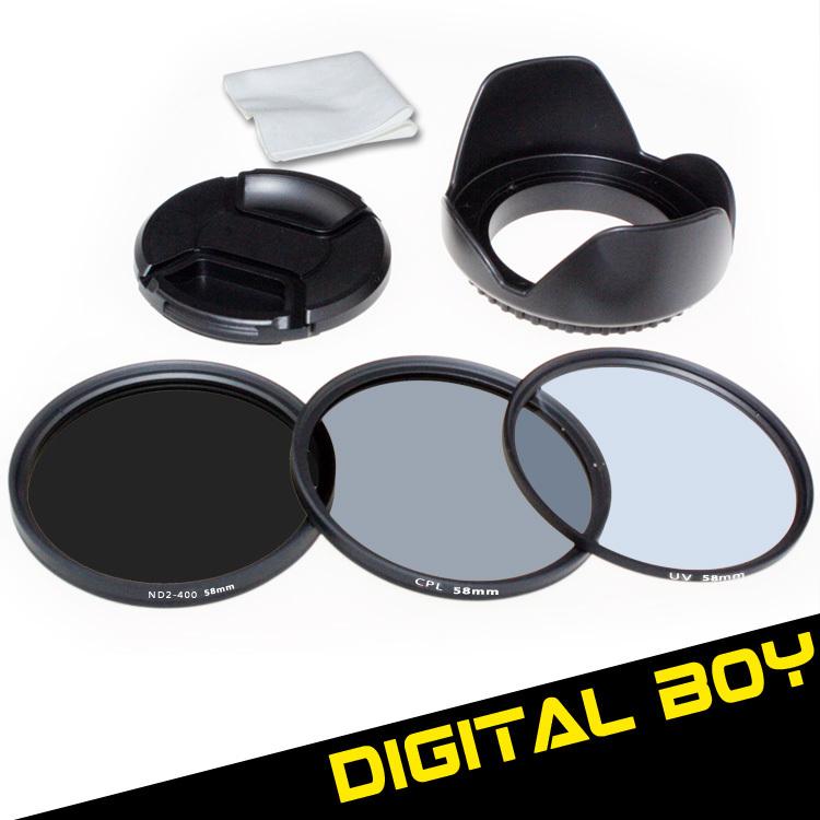 (5pcs/1lot) 58mm UV Filter + 58mm CPL + 58mm ND2 to ND400 + Lens cap + Lens hood Filter Kit for Canon 18-55 Nikon 50/1.4G()