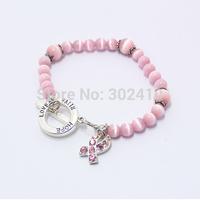 Free Shipping! 10pcs/lot, Cat's Eye Hope/Love/Faith Breast Cancer Prevention Rhinestone Pink Ribbons Bracelet