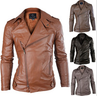 2014 Lastest new arrival hot sale male Faux Leather men's fashion PU Leather Man Coat solid Jacket drop shipping