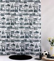 Bathroom curtain terylene print waterproof cloth shower curtain 180*180cm buckle