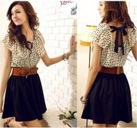 CHEAPEST!!!2014 new summer women's sweet temperament waisted dress dot dress free shipping