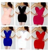 Women Sexy Strapless Mini/Short  Prom Party Ball Evening Dress ClubWear