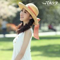 Summer hat sunscreen female campaigners strawhat beach bow roll-up hem women's sunbonnet