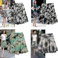 2014 high-grade new special summer floral print skirts ladies wave point veil chiffon skirts big dance skirt code