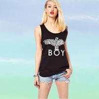 haoduoyi BOY London Punk hot silver eagle letter print pattern black TANK t-shirt vest tee tops for women Plus size Xs-XXL