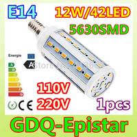 Free shipping 1pcs E14-12W-42leds-5630 SMD High Power LED Corn Light Bulb Lamp Lighting AC100-130V/200-240V Warm/Cool White