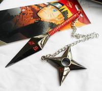 2014 NEW Anime Cosplay Naruto Konoha double kunai Necklace pendant Metal Free Shipping FS