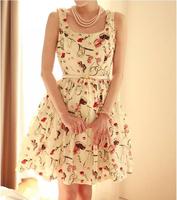 European and American 2014 Summer Fashion Women Dress Floral Print Elegant Square Collar Retro Tank Dresses Vestidos Femininos