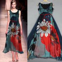 2014 Summer New Fashion Women Summer Dresses Ladies Vintage Sleeveless Silk Sunflower Floral Long Dress Free Shipping WQW255