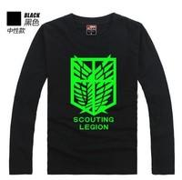 Free Shipping Luminous Full Sleeve T-shirt Attack on Titan Couples shirt Tee noctilucent T-shirt