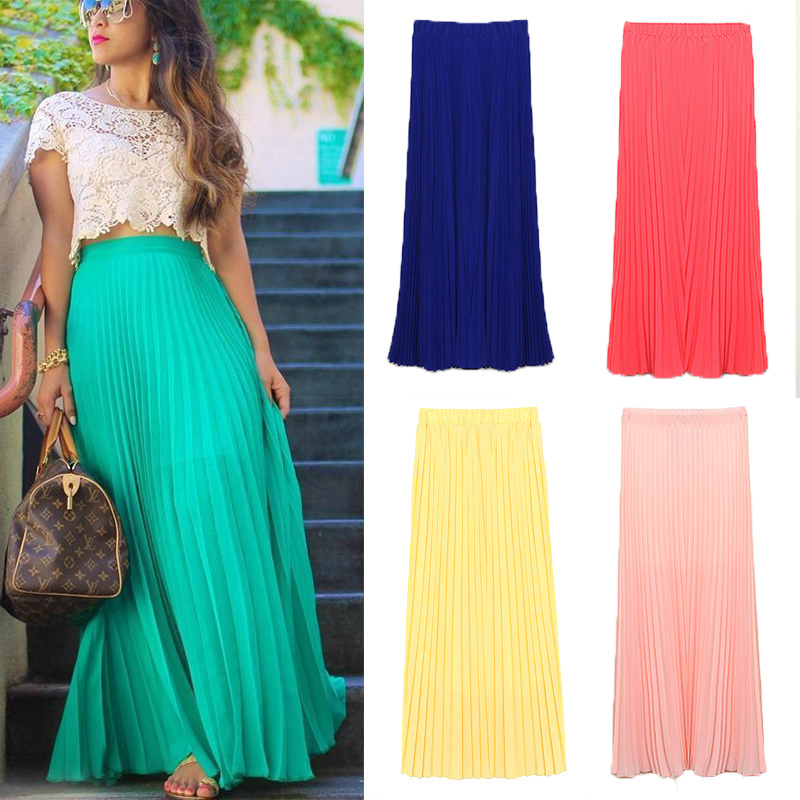 Elegant Longa 2014 Women Casual Maxi Skirt Long Ladies Fashion Pleated Skirt