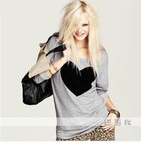 CHEAPEST!!!2014  Fashion Women Love Heart Printed Round Neck Long Sleeve T-shirt Tops Shirt Tees Free Shipping