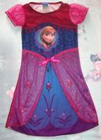 Children Kids Girls New Round Neck Frozen Princess Hot Sleeve Costume Elsa Fancy Red Dress Gown Cosplay 2345