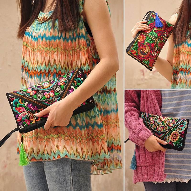 Women Bag Handbag Purse National Retro Embroidered Phone Change Coin M2660(China (Mainland))