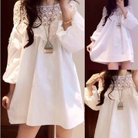 Spring lantern sleeve cape sweet lace loose maternity one-piece dress spring and summer fashion maternity clothing top