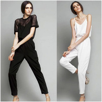 2014 summer new European  style solid  polyester Jumpsuits fashion new women Suspenders brand pants OL free shipping
