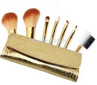 7PCS Makeup Brushes Gold Case Set Eyeshadow Eyeliner Smudge Brush Cosmetics Tool