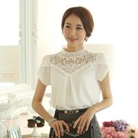 Free Shipping New Fashion Elegant White Crochet Lace Short Sleeve Chiffon Blouse 2014 Summer Women Office Tops S-XL Size B80279