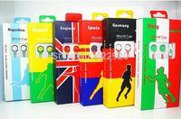 colorful 2014 World cup earphone in ear headphones & headphones earphones with Micro