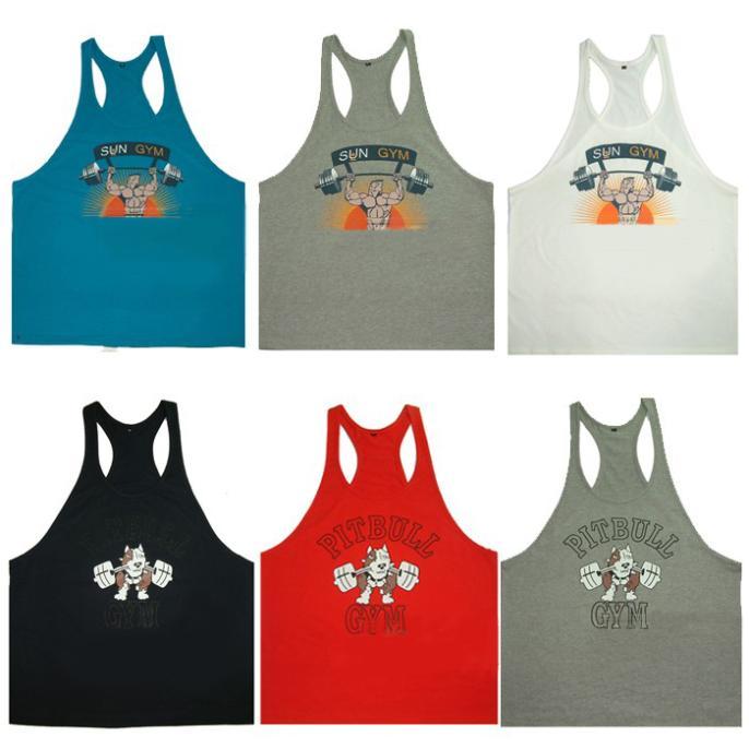 Regatas muscular dos homens E0841 para Fitness e Bodybuilding 100% algodão Men Professional treinos esportes colete 5pcs / lot(China (Mainland))