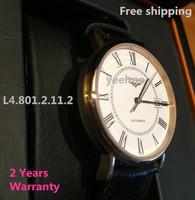 Free shipping self-wind 2824 watch L4.721.2.11.2. 801. 821. L4.801.2.11.2 wristwatches alligator strap relogio masculino