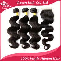 Queen Hair Peruvian Virgin Hair 4pcs Lot 1pc Lace Closure & 3pcs Peruvian Body wave 100% Unprocessed Human Virgin Hair