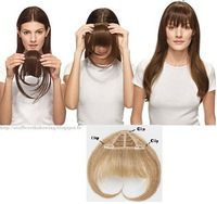 Free Shipping 3Clips Top Quailty Clip In 100% Real Human Hair Extension Bangs/Fringes Long sides Clip ON #613 Bleach Blonde